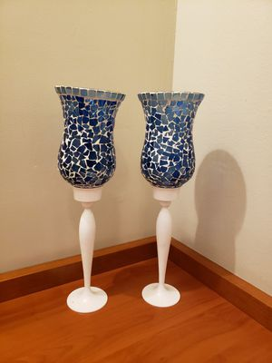 Two blue and white mosiac glass candle holders for Sale in Beverly Hills, CA