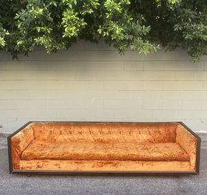 9' Mid Century Modern Orange Crushed Velvet Couch w/ Walnut Trim 😍 for Sale in Los Angeles, CA