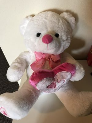 NEW white teddy bear with pink heart bow tie ribbon stuffed animal plush toy pet friend for Sale in Seattle, WA