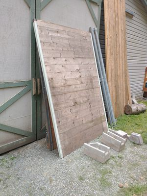 2 Rolling barn doors with tracks & 14 tongue and groove stall devider timbers. for Sale in Snohomish, WA
