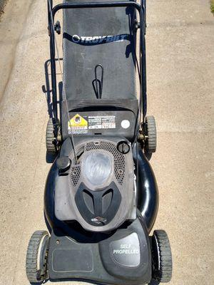 Troy-Bilt self-propelled gas lawn mower rear bagging mulching runs and drives good guaranteed for Sale in Phoenix, AZ