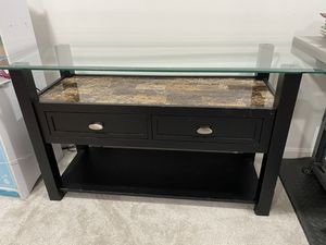 Glass top table with 2 drawers for Sale in Germantown, MD