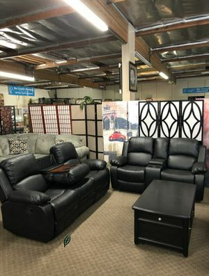 🍾🍾 Best Offer ‼ Marille Black Bonded Leather Reclining Living Room Set 103 for Sale in Jessup, MD
