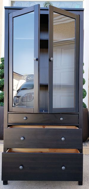 Beautiful IKEA Black Double 2 Glass Doors Curio Display China Bookcase Bookshelves Organizer Pantry Kitchen Bath Cabinet +3 Drawer + Shelves INCLUDED for Sale in Monterey Park, CA