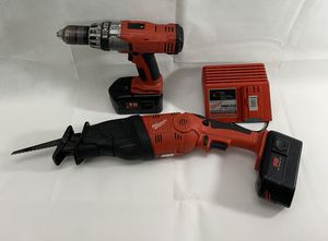 Milwaukee HD Cordless Tool set Drill/driver, sawzall Hatcher, Power plus charger & 2 NiCd 18v batteries for Sale in Villa Rica, GA