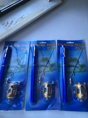 3 brand new fishing rod pen's with brass reel great stocking stuffer brass reel for Sale in Dallas, TX