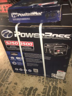 Sealed new in Box PowerBOSS 5250 starting watts gas electric power generator with mobility wheel kit and handle for Sale in Brandon, FL