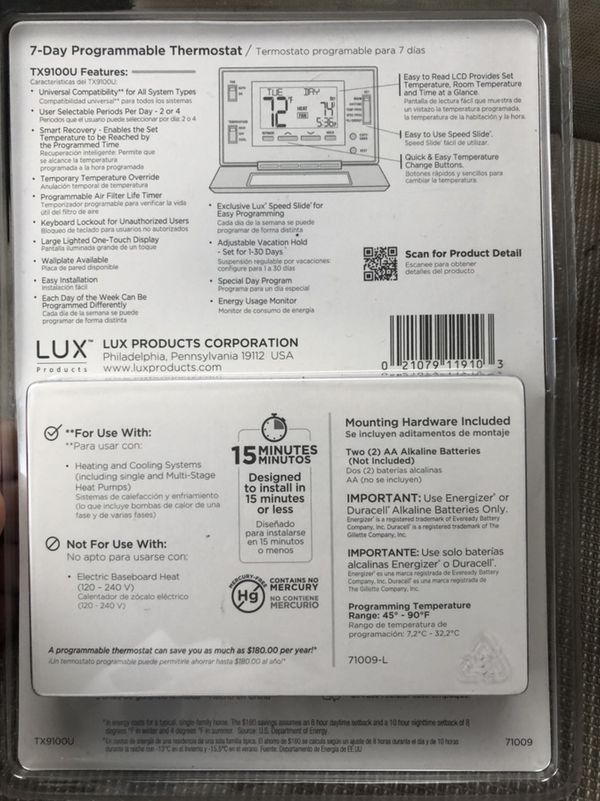 Programmable thermostat seven day model TX9100U lux brand