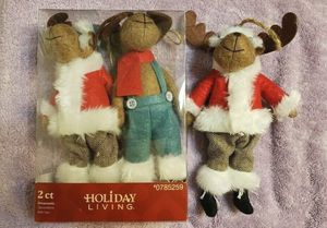 3 Holiday Living Moose Christmas Ornaments Fabric 2 Santas for Sale in Willow Spring, NC