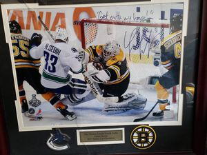 One of kind autographed Tim Thomas picture marked down without jersey for Sale in Newport, ME