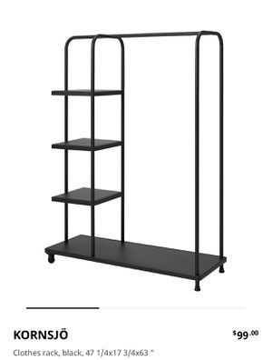 IKEA clothing rack with side shelves and wheels - almost new. for Sale in Alameda, CA