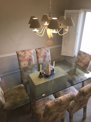 Pedestal glass dining table and chairs 72x42 for Sale in Sun City West, AZ