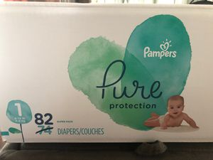 Pampers pure protection size 1 (82 diapers/couches) for Sale in Providence, RI