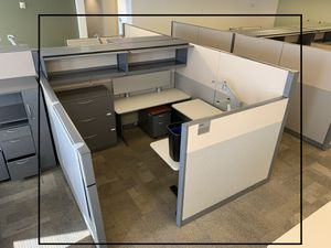 One cubicle, one adjustable electric L table, 3 drawer file cabinet, two drawer wall Cabinet, small two drawer roll up cabinet. for Sale in Bellaire, TX