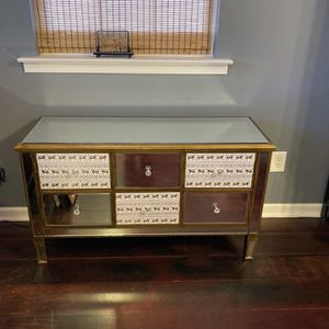 Mirrored Gold And Black Buffet/entry table for Sale in Garner, NC