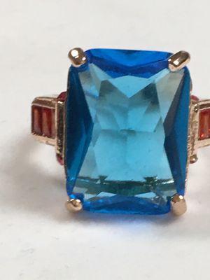 Natural Aquamarine Ring Wedding Ring Emerald Cut Blue 14K Rose Gold size 5.5 for Sale in Nashville, TN