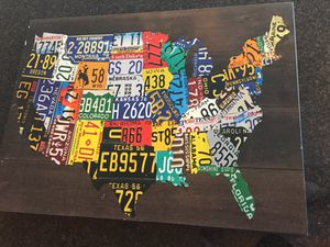 Wooden USA License Plate Map Pub Bar Wall Art Wood U.S.A. Auto Car Tag Plates for Sale in Washington, DC
