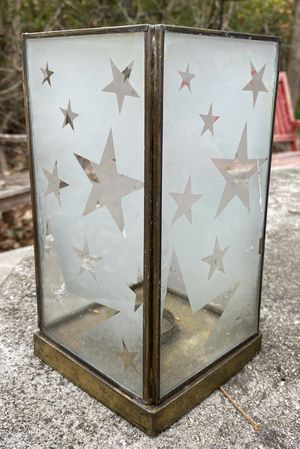 Vintage Stars Stained Glass And Brass PartyLite Tealight Votive Candle Holder Lantern for Sale in Chapel Hill, NC