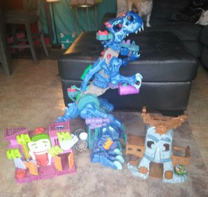 Take all ROARING LIGHT UP DINASOUR and joker cave and little Einstein toy ship for Sale in Port Neches, TX