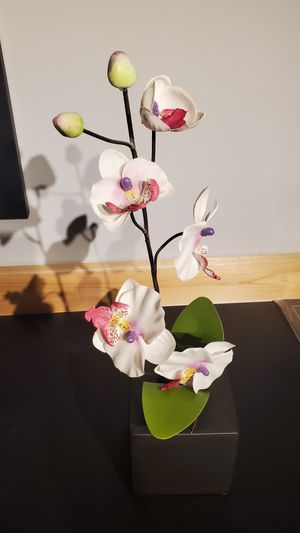 Orchid fabric flowers in pot- decorative flowers for Sale in Morton Grove, IL