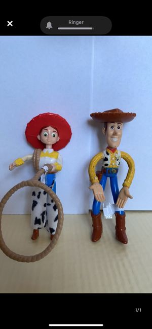 Vintage Toy Story collectibles. Jessie with spinning rope and Woody. for Sale in El Paso, TX