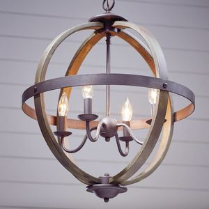 Progress Lighting Keowee Collection 19.88 in. 4-Light Artisan Iron Orb Chandelier with Elm Wood Accents for Sale in Port St. Lucie, FL