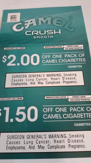 Coupons for Camel Crush Cigarettes for Sale in Sumner, WA