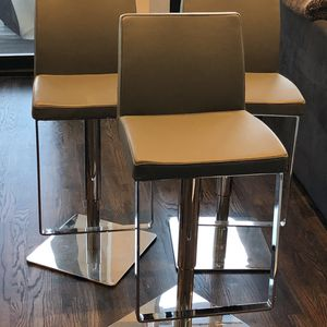 Grey Leather Bar Stools (originally $400/each) for Sale in Chicago, IL