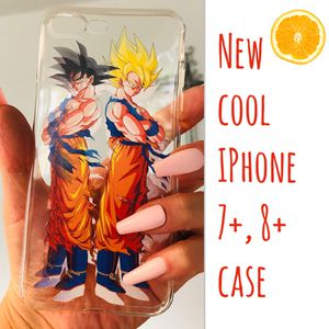 New cool iphone 7+ or iphone 8+ PLUS case rubber Clear transparent mens womens Goku dragon ball z super saiyan anime hypebeast hype swag for Sale in San Bernardino, CA