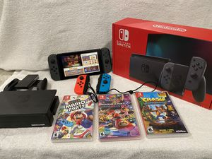 Nintendo Switch 32GB Console with Gray and Neon Joy‑Cons + Mario Kart And More... for Sale in Yorba Linda, CA