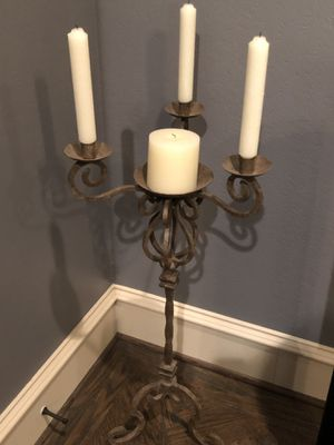 Iron candelabra with candles included for Sale in Dallas, TX