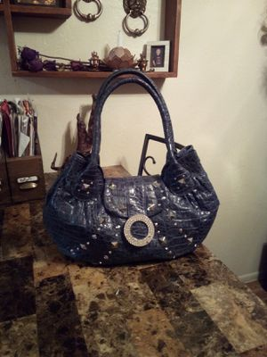 Charm & Luck navy blue Genuine Leather with crocodile embossing studded & rhinestones large hobo shoulder bag purse *Orig Retail$350* for Sale in Phoenix, AZ