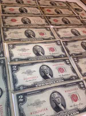 20 Old Rare US 1928 & 1953 Two Dollar Bills— ALL with scarce Red Seals- 3 Error Bills Included- Valuable Huge Collection! for Sale in Herndon, VA