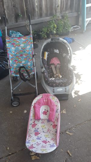Car seat with base stroller and baby shower make offer for Sale in Stockton, CA