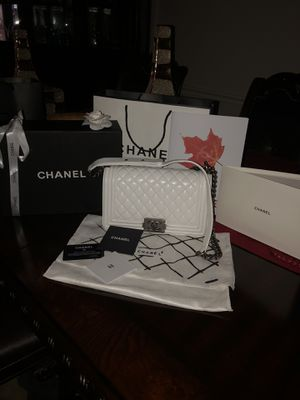 White Chanel Boy Bag w/ Silver Hardware for Sale in Houston, TX