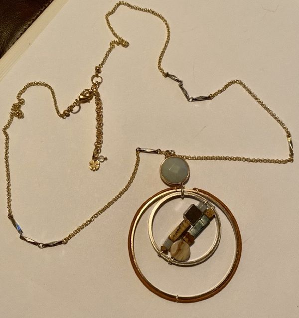Lucky Brand Stone and Faux Jade Round Pendant Necklace