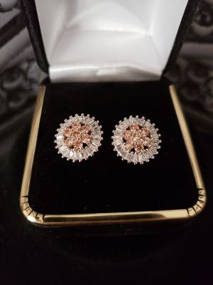 Set of padparadscha sapphire + white topaz earrings for Sale in Meriden, CT