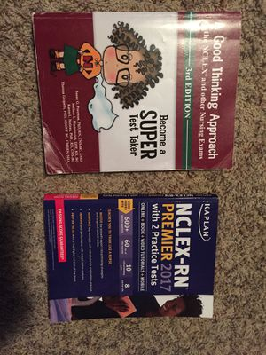 Nclex nursing books (Kaplan rn premier and good thinking approach) for Sale in Poway, CA
