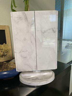 Impressions Vanity Trifold Makeup Mirror White Marble, Personal MakeUp Vanity Mirror, Brand New, LED Light for Sale in Brea, CA