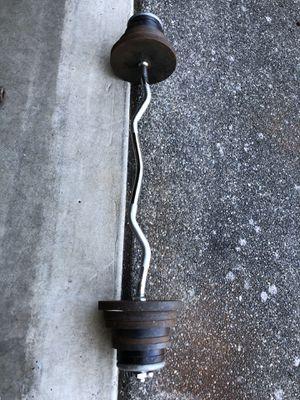 90bls Curl bar and weights 10bls x4 , 5bls x4 , 3bls x4 , 2.5bls x6 for Sale in Everett, WA