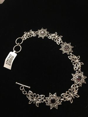 Garnet butterfly & flower sterling silver bracelet for Sale in West Richland, WA