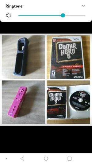 Guitar Hero 5 WII Game with Pink WIIl Remote and Black Case for Remote! guitar included!! ALL TOGATHER OR ITEM OF YOIR CHOICE!! for Sale in Pine Bluff, AR