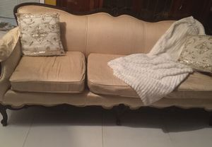 Antique sofa an antique chair with wood coffee table and side table . $200 obo. for Sale in Miami, FL