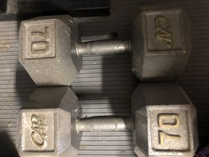 CAP barbell 70 lb solid hex dumbbell pair of 2 for Sale in Miramar, FL