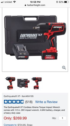 Earthquake XT Cordless Xtreme Torque Impact Wrench comes with 1/2 in. 20V impact wrench, and 4.0AH battery for Sale in Oakland, CA