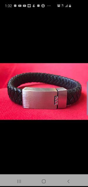 Black Leather Wrap Bracelet in Stealing Steel. for Sale in Alhambra, CA