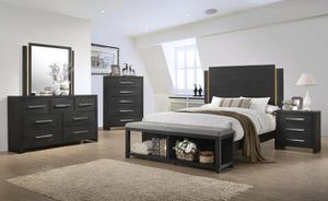 3 pc bedroom set with led lights bed mirror dresser $799 for Sale in Norfolk, VA