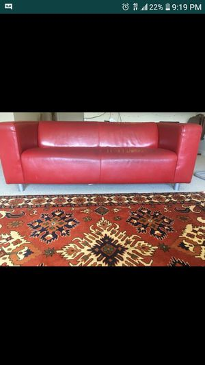 Red leather couch NEED GONE ASAP SERIOUS INQUIRIES ONLY for Sale in Washington, DC