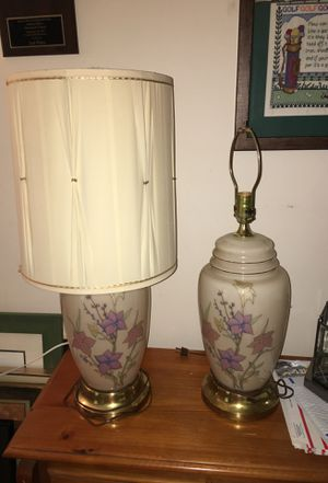 2 Iridescent Glass Lamps with Shades for Sale in Midlothian, VA