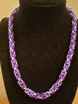 Royal Purple and Silver Chainmaille Collar Necklace for Sale in Kissimmee, FL